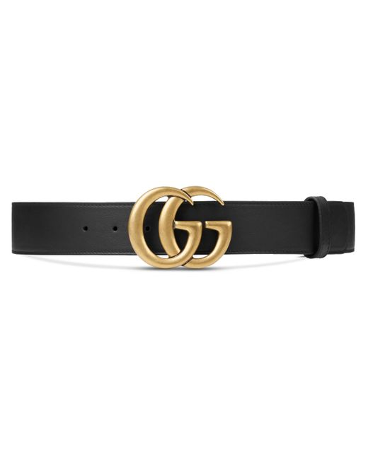 Gucci Black Leather Belt With Double G Buckle