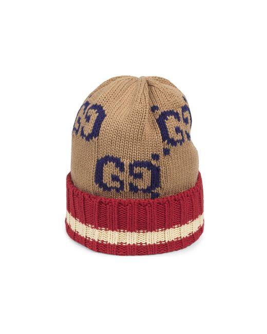 Gucci Natural Mütze aus Wolle mit GG Motiv