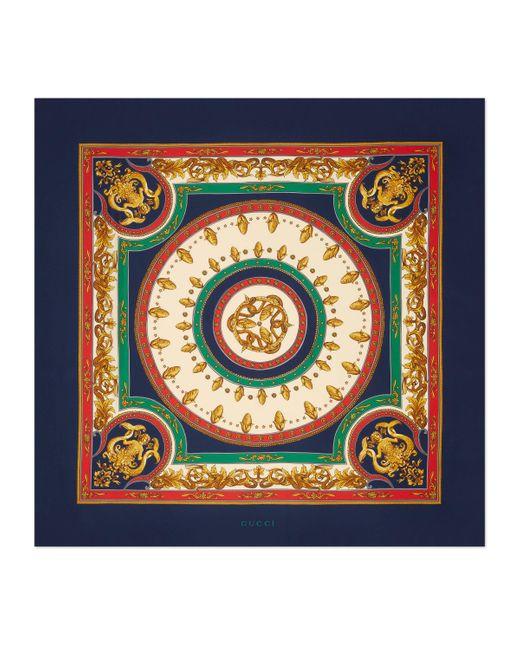 Foulard en soie à imprimé sirène circulaire Gucci pour homme en coloris Blue