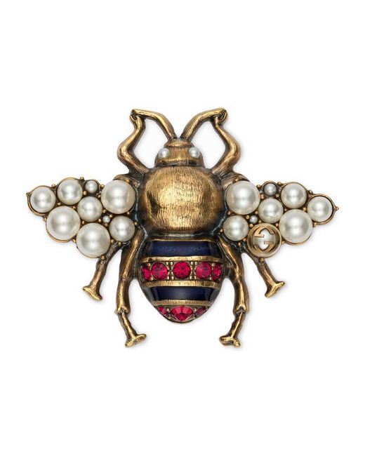 Gucci - Metallic Bee Brooch With Crystals And Pearls - Lyst