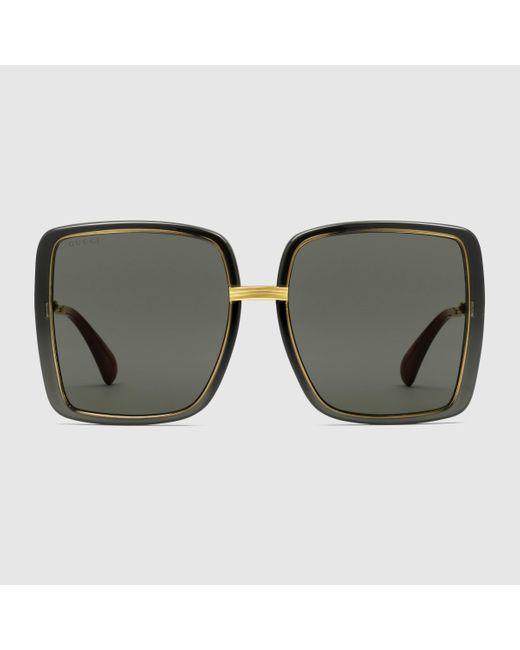 Gucci 【公式】 (グッチ)オンライン限定 スクエアフレーム サングラス(アジアン フィット)グレー&ゴールドグレー Multicolor