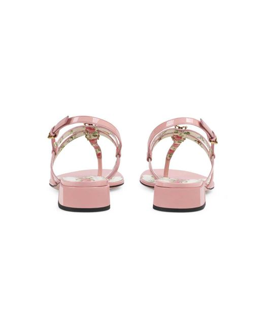 854ec408ba30 ... Gucci - Pink Patent Leather Sandal With Bee - Lyst ...