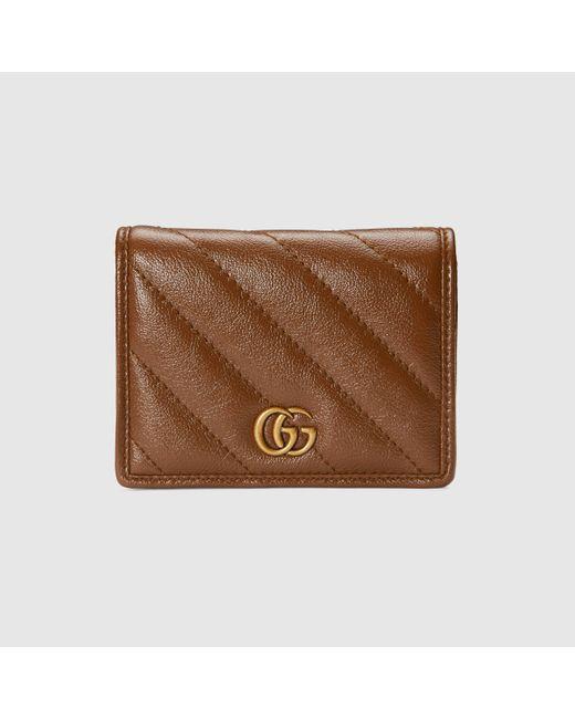 Gucci 【公式】 (グッチ)〔GGマーモント〕カードケース ウォレット(コイン&紙幣入れ付き)ブラウン レザーブラウン Brown