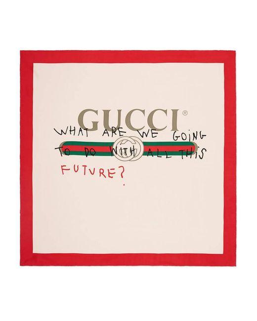 Gucci | White Coco Capitán Print Silk Scarf | Lyst