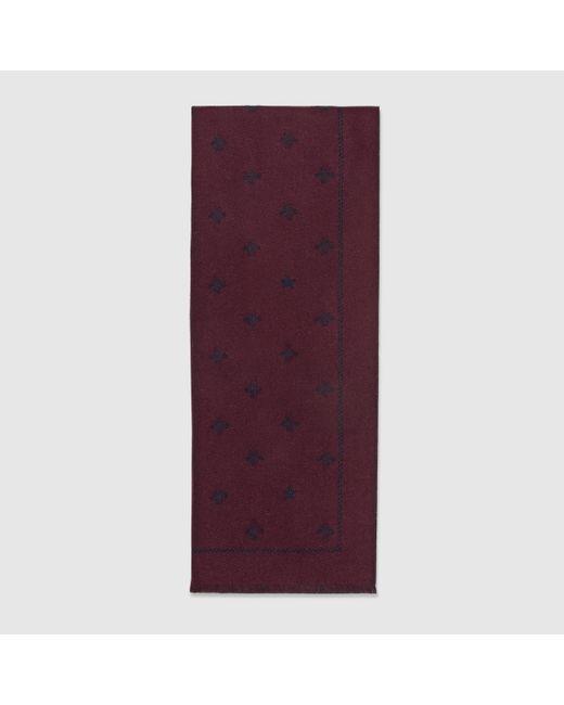 メンズ Gucci 【公式】 (グッチ)ビー(ハチ)&スター付き ウール スカーフアマランス ウールボルドー Purple
