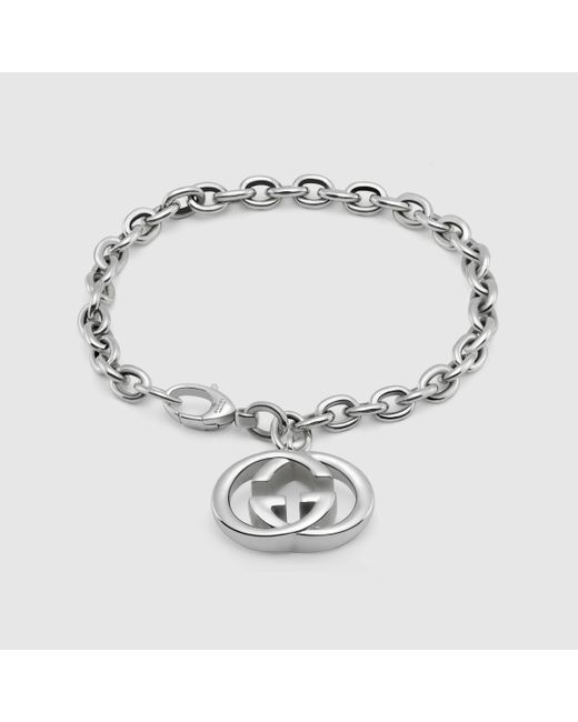 Gucci | Metallic Bracelet With Interlocking G Charm for Men | Lyst