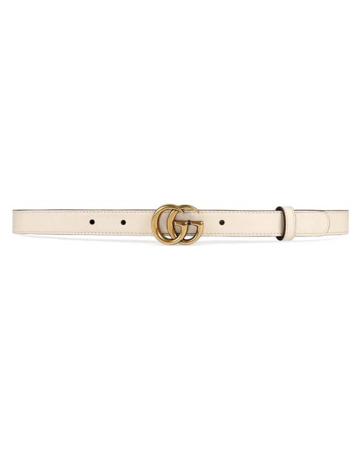 Gucci White Leather Belt With Double G Buckle