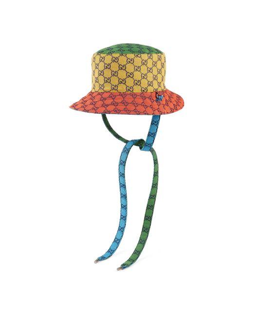 Gucci Yellow GG Multicolour Reversible Bucket Hat for men