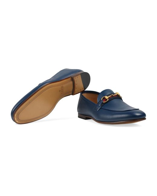 ffa335ecb ... Lyst Gucci - Blue Men's Leather Horsebit Loafer With Web for Men ...