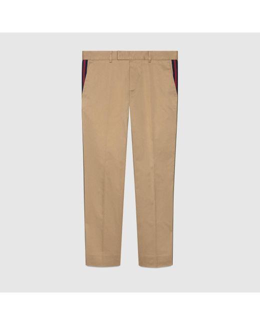 メンズ Gucci グッチウェブ付き コットン 60's パンツ Natural