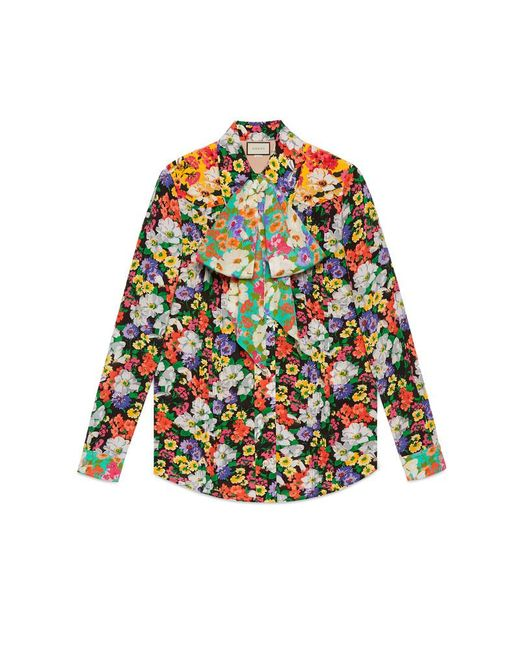 6a303694 Gucci - Multicolor Wildflowers Print Pintuck Shirt - Lyst