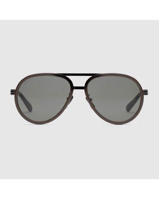 Gucci Sonnenbrille mit Rahmen im Pilotenstil in Brown für Herren