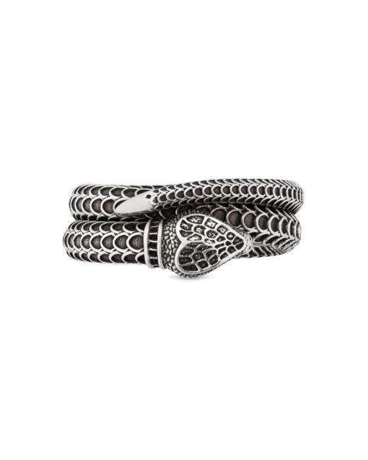 Gucci Metallic Garden Silver Snake Ring for men