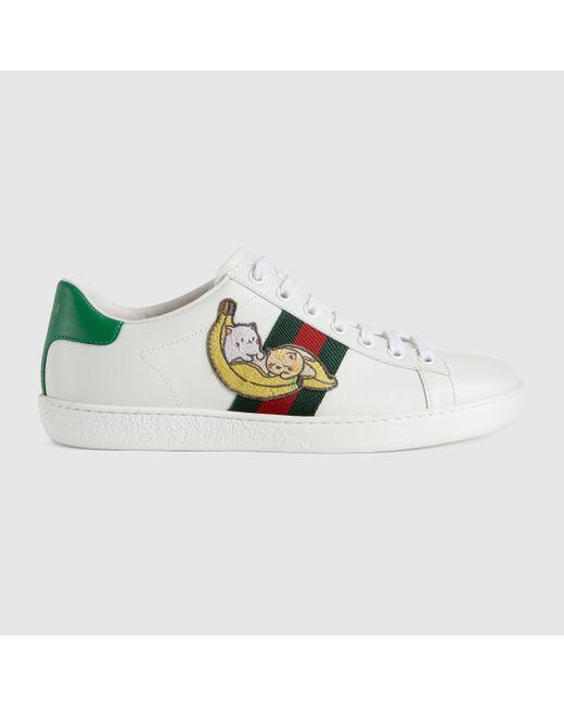 Gucci 【公式】 (グッチ)〔エース〕オンライン限定 ばなにゃ スニーカーホワイト レザーホワイト Multicolor