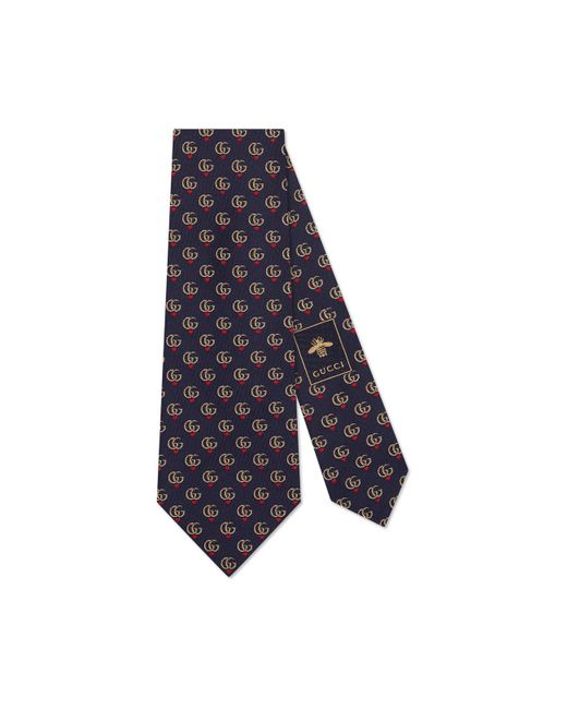 Gucci Blue Double G And Hearts Silk Tie for men