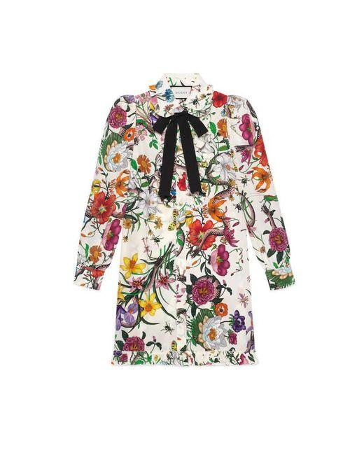 Gucci - White Flora Snake Print Dress - Lyst
