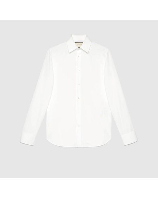 メンズ Gucci グッチコットンポプリン シャツ White