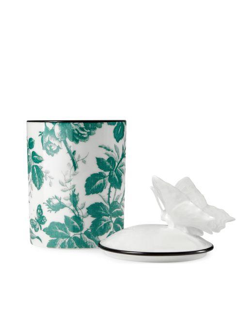 Gucci Green Herbosum Medium Herbarium Butterfly Candle