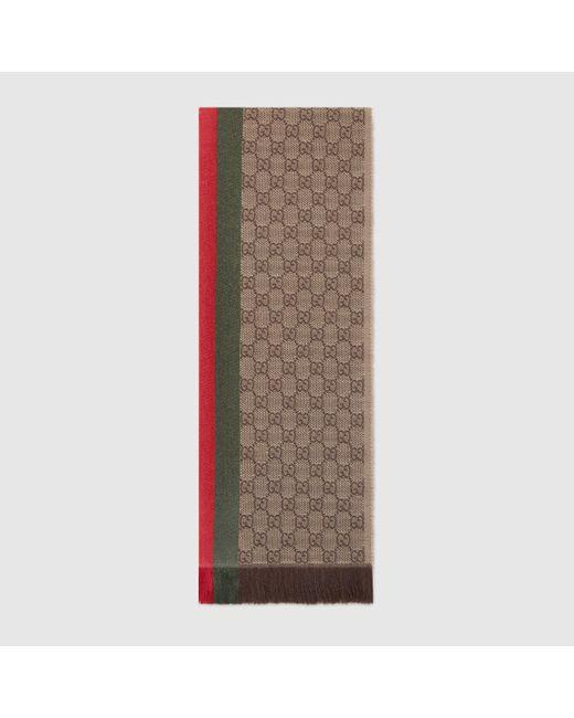 メンズ Gucci 【公式】 (グッチ)GGパターンマフラー(ウェブ/フリンジ)ライトブラウン シルクウールベージュ Natural