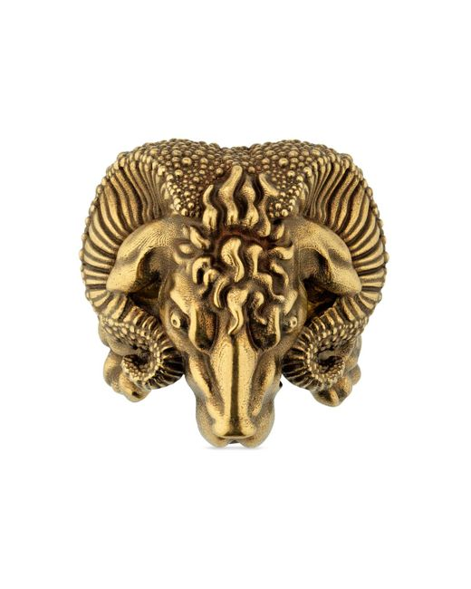 Gucci Metallic Metal Ring With Aries for men