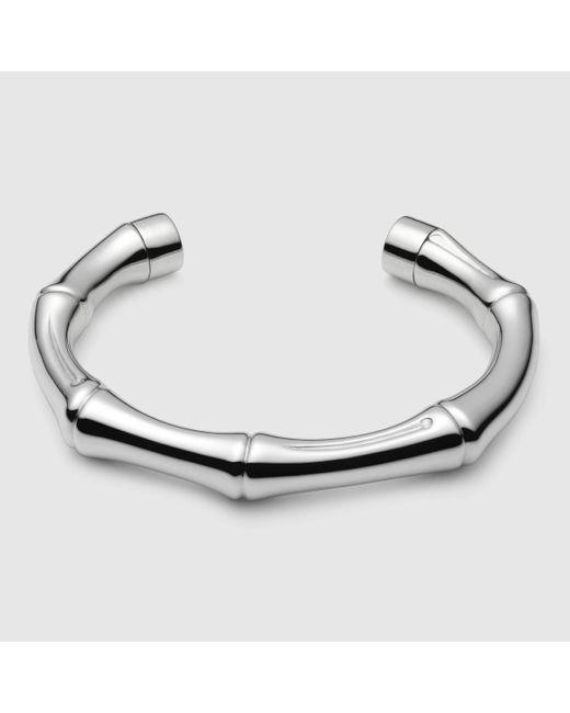 Gucci | Metallic Silver Bamboo Bracelet | Lyst