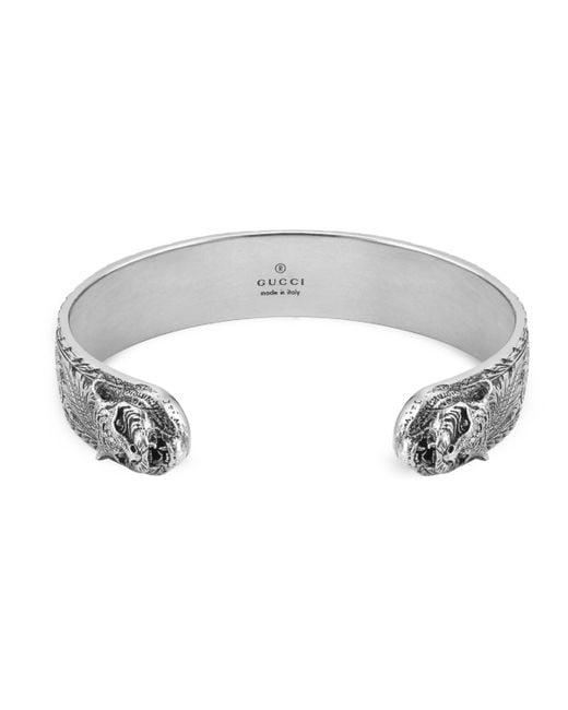 Gucci - Metallic Bracelet In Silver With Feline Head for Men - Lyst