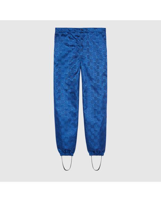 メンズ Gucci 【公式】 (グッチ)日本限定 Off The Grid ゲートル付きパンツブルー GG Econyl®ブルー Blue