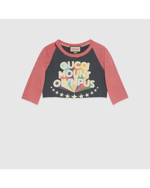 Gucci 【公式】 (グッチ)インターロッキングg スターフラッシュ プリント Tシャツレッド&ブラックブラック Multicolor