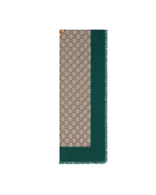 Étole en laine à imprimé bande Web et tigre Gucci pour homme en coloris Green