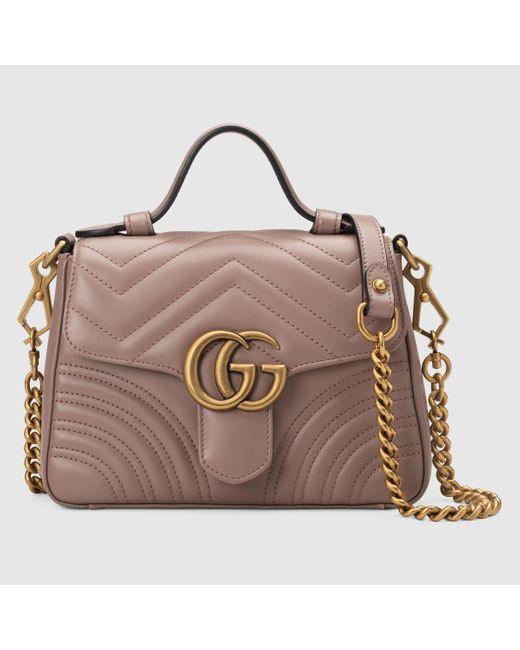 Gucci 【公式】 (グッチ)〔GGマーモント〕ミニ トップハンドルバッグダスティピンク シェブロン レザーピンク Pink