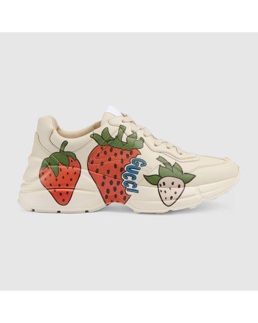 Gucci 【公式】 (グッチ)〔ライトン〕 ストロベリー(いちご) スニーカーホワイト レザーホワイト Multicolor