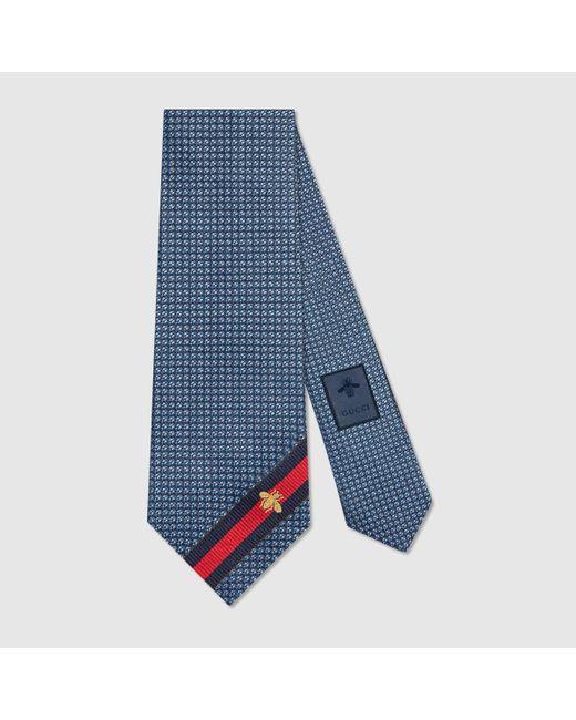 メンズ Gucci 【公式】 (グッチ)ビー(ハチ) ウェブ付き シルク タイライトブルーシルクブルー Blue
