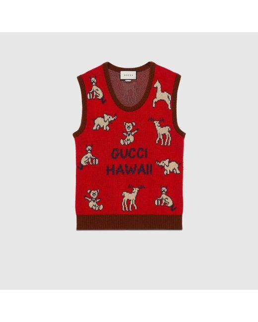メンズ Gucci グッチ Hawaii ウールコットン ベスト Red