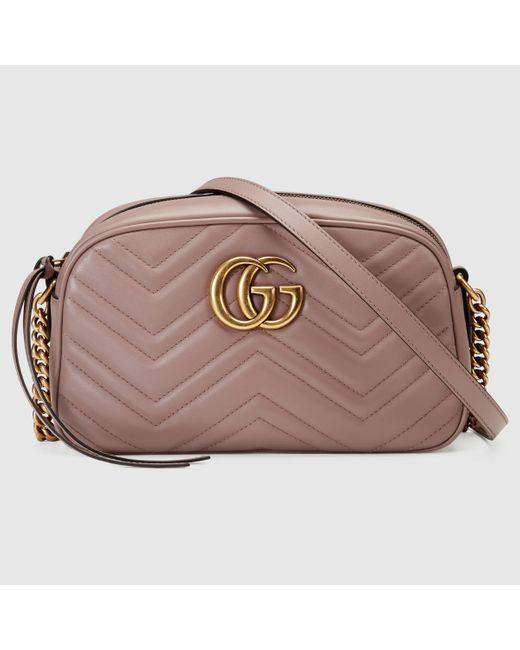 Gucci 【公式】 (グッチ)〔GGマーモント〕キルティング スモール ショルダーバッグベージュレザーピンク Multicolor