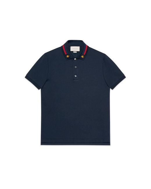 Gucci | Blue Cotton Polo With Web And Bee for Men | Lyst