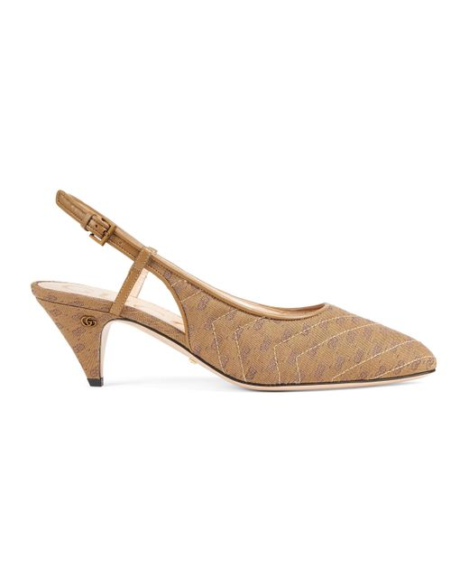 Gucci Natural Sling Back With Mini Double G