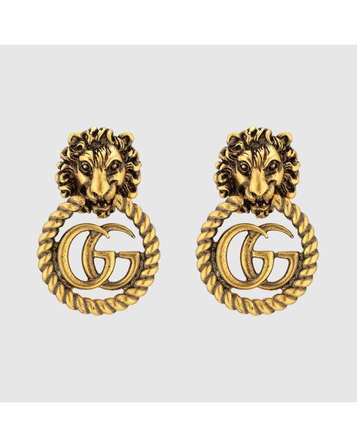 Gucci グッチダブルg付き ライオンヘッド イヤリング Multicolor