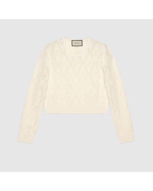 Gucci 【公式】 (グッチ)GG パーフォレーテッド ウール クロップドセーターアイボリーホワイト Multicolor