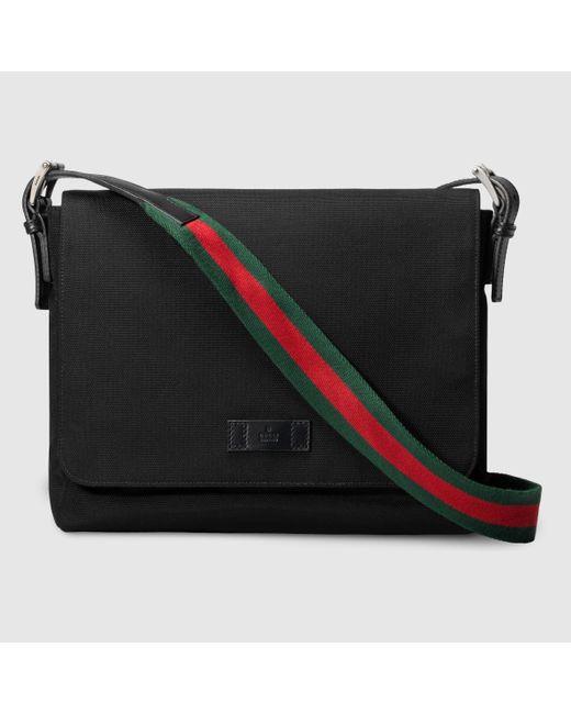 Gucci | Black Techno Canvas Messenger Bag for Men | Lyst