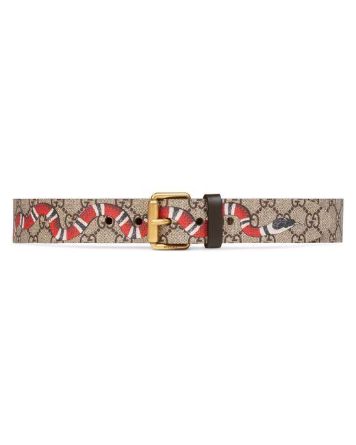 Gucci Multicolor Snake Print Gg Supreme Belt for men