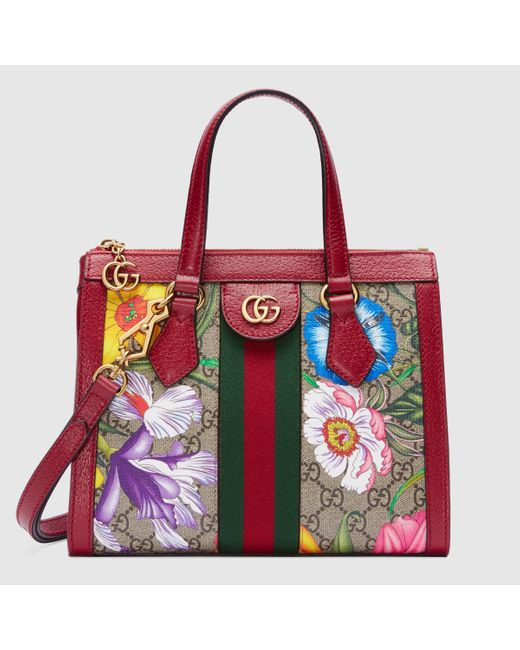 Gucci 〔オフィディア〕GGフローラ スモール トートバッグ Red