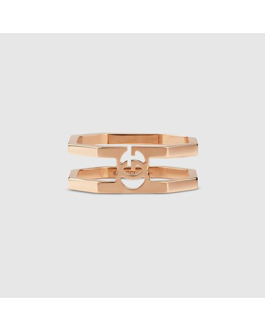 Gucci | Pink Rose Gold Running G Ring | Lyst