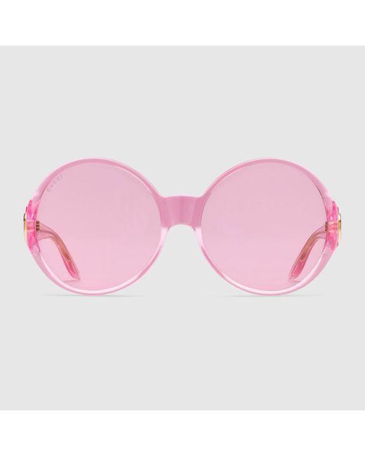 Gucci 【公式】 (グッチ)ラウンドフレーム サングラスピンクピンク Pink