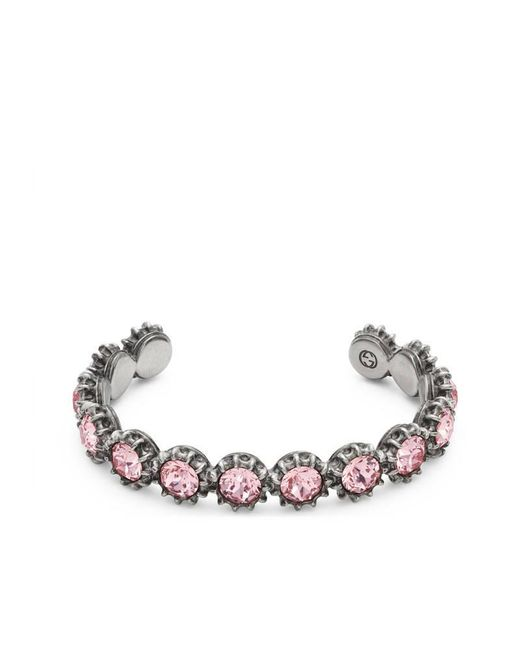 Gucci | Pink Cuff Bracelet With Crystals | Lyst