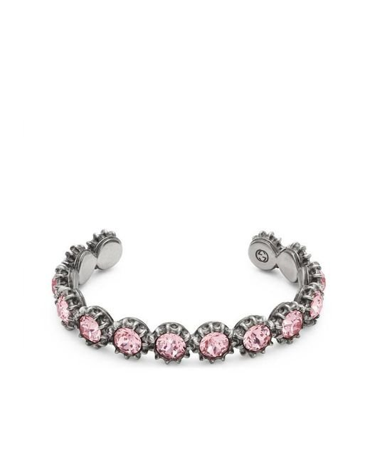 Gucci - Pink Cuff Bracelet With Crystals - Lyst