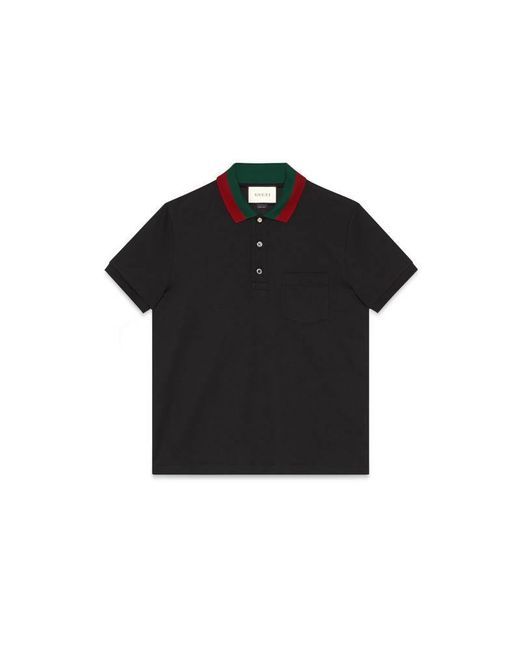 Gucci | Black Cotton Polo With Web Collar for Men | Lyst