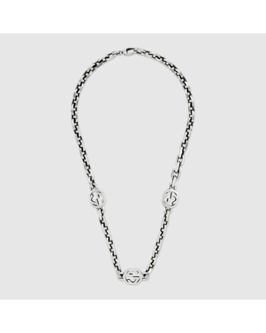 メンズ Gucci 【公式】 (グッチ)インターロッキングg ネックレス スターリングシルバーundefined Metallic