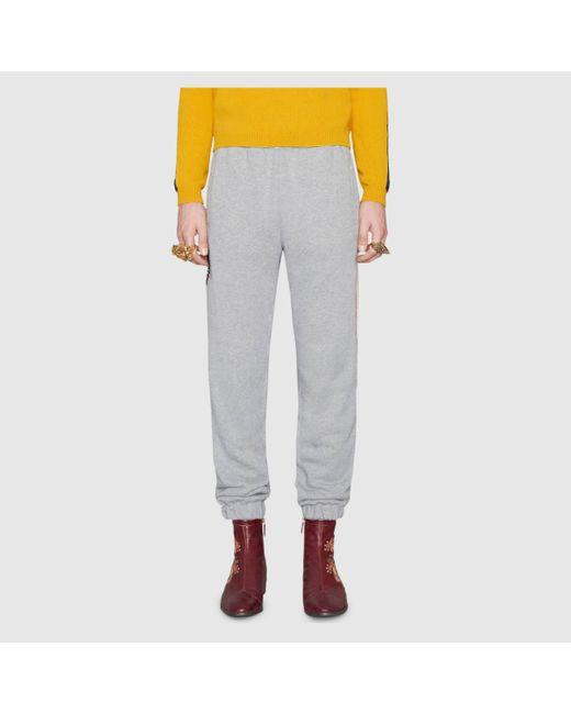 メンズ Gucci グッチグッチ ストライプ コットン ジョギングパンツ Gray