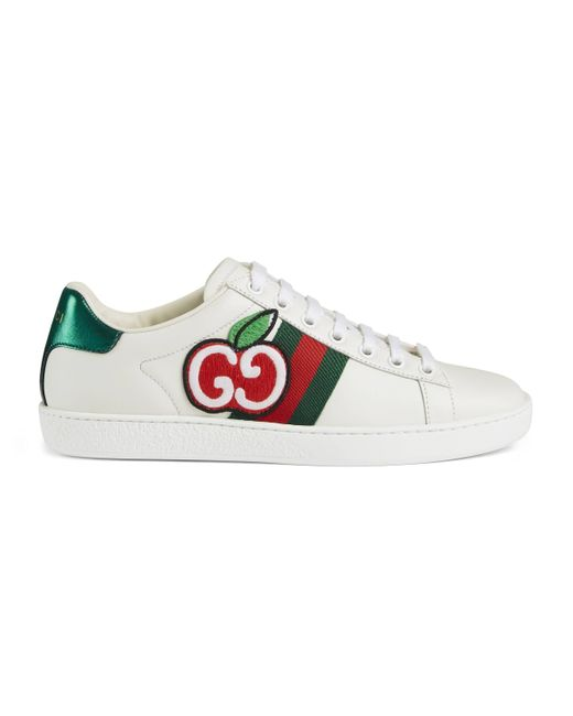Gucci White Women's New Ace Apple-print Leather Trainers