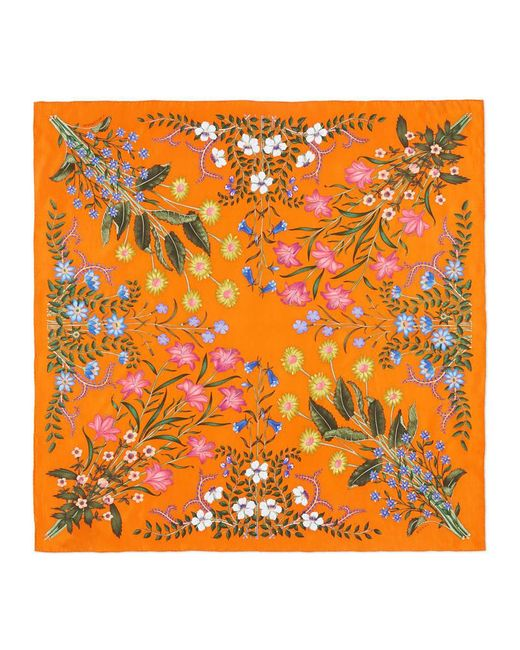 Gucci | Red New Flora Print Silk Scarf | Lyst